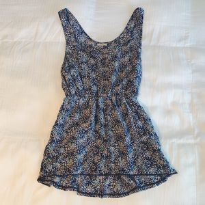 Floral babydoll tank top with sweetheart neckline